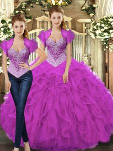 Discount Fuchsia Ball Gowns Beading and Ruffles Vestidos de Quinceanera Lace Up Tulle Sleeveless Floor Length