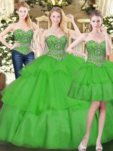 Extravagant Organza Sleeveless Floor Length 15th Birthday Dress and Beading and Ruffled Layers