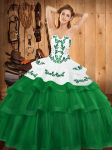 Embroidery and Ruffled Layers Quinceanera Dress Green Lace Up Sleeveless Sweep Train