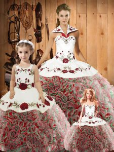 Sophisticated Multi-color Ball Gowns Embroidery Quinceanera Gowns Lace Up Satin and Fabric With Rolling Flowers Sleeveless Floor Length