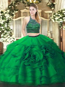 Green Halter Top Neckline Beading and Ruffled Layers Vestidos de Quinceanera Sleeveless Zipper