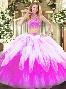 Glittering Tulle Sleeveless Floor Length 15th Birthday Dress and Beading and Ruffles