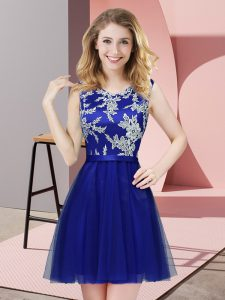 Mini Length Royal Blue Vestidos de Damas Tulle Sleeveless Lace