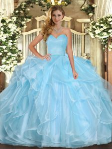 Sleeveless Floor Length Ruffles Lace Up Quinceanera Gown with Aqua Blue