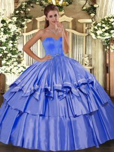Discount Blue Sleeveless Floor Length Beading and Ruffled Layers Lace Up Ball Gown Prom Dress