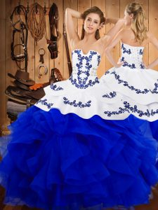 High Class Sleeveless Floor Length Embroidery and Ruffles Lace Up Quince Ball Gowns with Blue And White