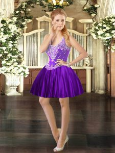 Purple Ball Gowns Beading Homecoming Dress Lace Up Satin Sleeveless Mini Length