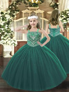 Beauteous Dark Green Pageant Dress Party and Quinceanera with Beading Straps Sleeveless Lace Up