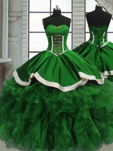 Green Satin and Organza Lace Up Sweetheart Sleeveless Floor Length Quinceanera Gown Beading and Ruffles