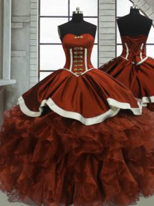 Modest Rust Red Sleeveless Organza Lace Up 15th Birthday Dress for Sweet 16 and Quinceanera