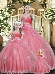 Captivating Sleeveless Floor Length Beading Lace Up Quince Ball Gowns with Watermelon Red
