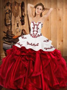 Satin and Organza Sleeveless Floor Length 15th Birthday Dress and Embroidery and Ruffles