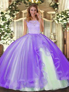 Scoop Sleeveless Tulle Sweet 16 Dresses Lace and Ruffles Clasp Handle