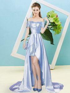 Fantastic Lavender Elastic Woven Satin and Sequined Lace Up Prom Dress Short Sleeves High Low Sequins