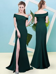 Off The Shoulder Sleeveless Zipper Damas Dress Dark Green Elastic Woven Satin