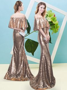 Popular Half Sleeves Sequined Floor Length Zipper Prom Gown in Gold with Sequins
