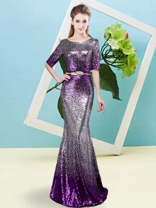 High End Scoop Half Sleeves Zipper Prom Gown Multi-color Sequined