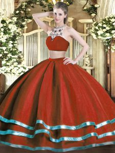 Flirting Wine Red Backless 15 Quinceanera Dress Beading Sleeveless Floor Length