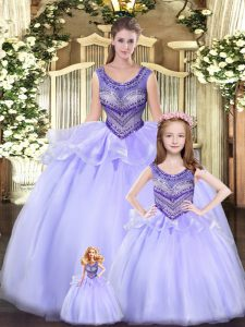 New Style Lavender Ball Gowns Scoop Sleeveless Tulle Floor Length Lace Up Beading and Ruching Quinceanera Gown