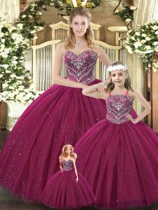 Best Selling Floor Length Lace Up Sweet 16 Dresses Burgundy for Military Ball and Sweet 16 and Quinceanera with Beading