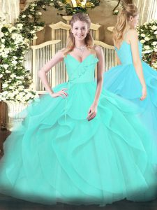 Floor Length Zipper Quinceanera Gowns Aqua Blue for Military Ball and Sweet 16 and Quinceanera with Ruffles