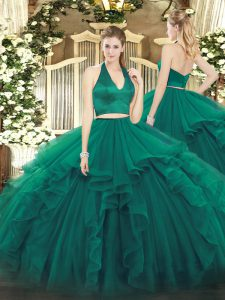 Dark Green Two Pieces Halter Top Sleeveless Organza Floor Length Zipper Ruffles Vestidos de Quinceanera