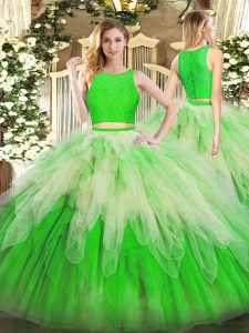 Multi-color Sleeveless Organza Zipper Quinceanera Dress for Military Ball and Sweet 16 and Quinceanera