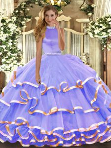 Captivating Lavender Sleeveless Floor Length Beading and Ruffled Layers Backless Ball Gown Prom Dress