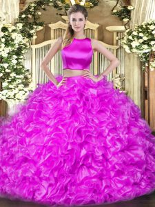 Lilac Criss Cross High-neck Ruffles Sweet 16 Quinceanera Dress Tulle Sleeveless