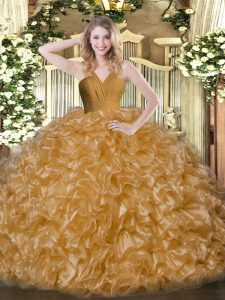 Flirting Brown Ball Gowns Ruffles Quince Ball Gowns Zipper Organza Sleeveless Floor Length