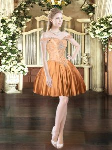 Captivating Mini Length Orange Red Prom Gown Off The Shoulder Sleeveless Lace Up