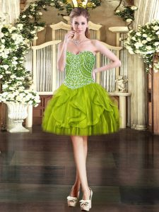 Extravagant Olive Green Ball Gowns Beading and Ruffles Lace Up Tulle Sleeveless Mini Length