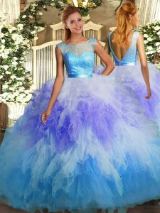 Multi-color Ball Gowns Lace and Ruffles Sweet 16 Dress Backless Tulle Sleeveless Floor Length