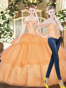 Ideal Sleeveless Beading and Ruffled Layers Lace Up Vestidos de Quinceanera
