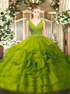 Simple Olive Green Ball Gowns V-neck Sleeveless Fabric With Rolling Flowers Floor Length Zipper Beading Sweet 16 Quinceanera Dress