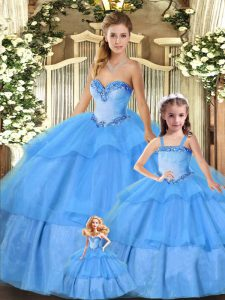 Baby Blue Sweetheart Neckline Beading and Ruffled Layers Sweet 16 Dress Sleeveless Lace Up