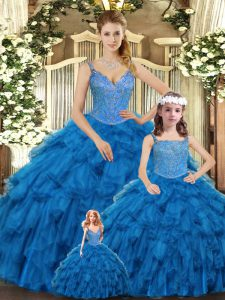 Teal Vestidos de Quinceanera Military Ball and Sweet 16 and Quinceanera with Beading and Ruffles Straps Sleeveless Lace Up