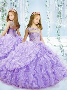 Lavender Sleeveless Beading and Ruffles and Pick Ups Floor Length Pageant Gowns For Girls
