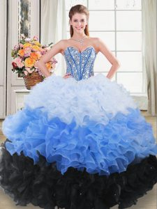 Amazing Floor Length Multi-color 15th Birthday Dress Sweetheart Sleeveless Lace Up