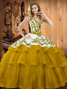 Sleeveless Sweep Train Lace Up Embroidery Sweet 16 Dresses