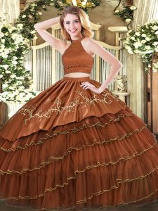 Brown Backless 15 Quinceanera Dress Beading and Embroidery and Ruffled Layers Sleeveless Floor Length