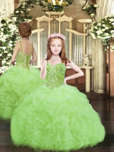 Organza Lace Up Spaghetti Straps Sleeveless Floor Length Pageant Dress Beading and Ruffles and Pick Ups