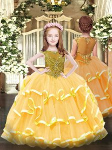 Scoop Sleeveless Organza Pageant Dress Beading and Ruffled Layers Zipper