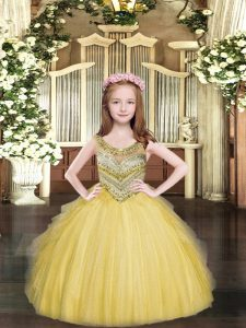 Scoop Sleeveless Tulle Custom Made Pageant Dress Beading and Ruffles Lace Up