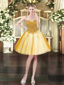High Quality Sleeveless Mini Length Beading Lace Up Prom Party Dress with Gold