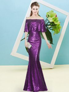 Purple Zipper Prom Dresses Sequins Half Sleeves Floor Length