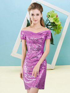 Glittering Lilac Short Sleeves Mini Length Sequins Zipper Prom Party Dress
