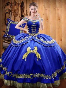 Glamorous Royal Blue Sleeveless Satin and Organza Lace Up 15 Quinceanera Dress for Sweet 16 and Quinceanera