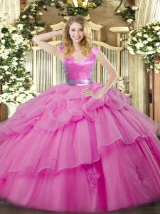 Luxurious Lilac Ball Gowns Ruffled Layers Quince Ball Gowns Zipper Organza Sleeveless Floor Length