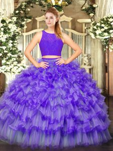 Pretty Eggplant Purple Tulle Zipper Quinceanera Dress Sleeveless Floor Length Ruffled Layers